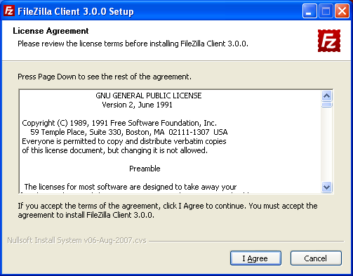 FileZilla License Agreement