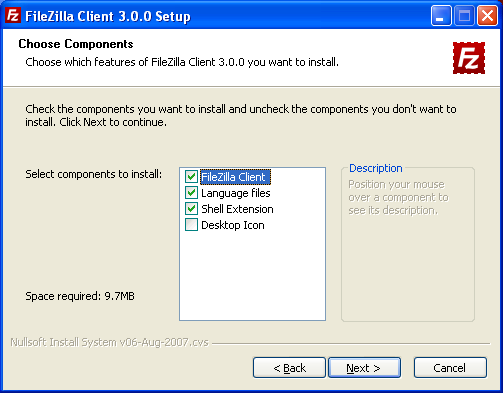 FileZilla Choose Components