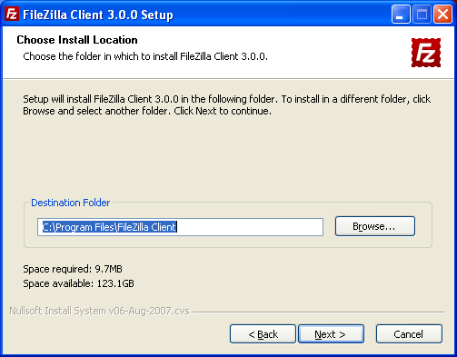FileZilla Install Location