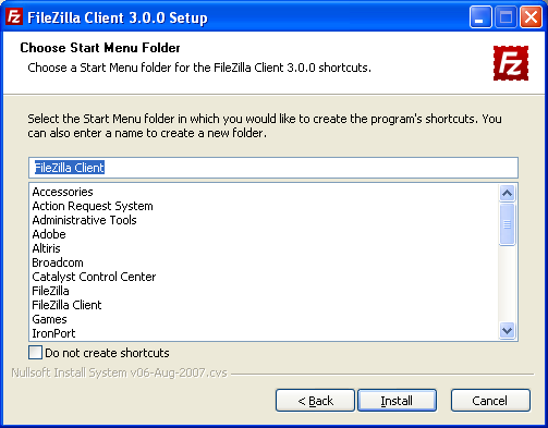 FileZilla Start Menu Folder