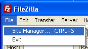 FileZilla Site Manager Select