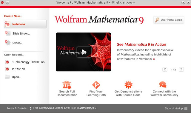 Mathematica Welcome Screen