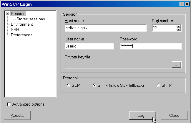 WinSCP Login Screen