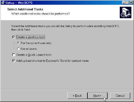 WinSCP Select Additional Tasks